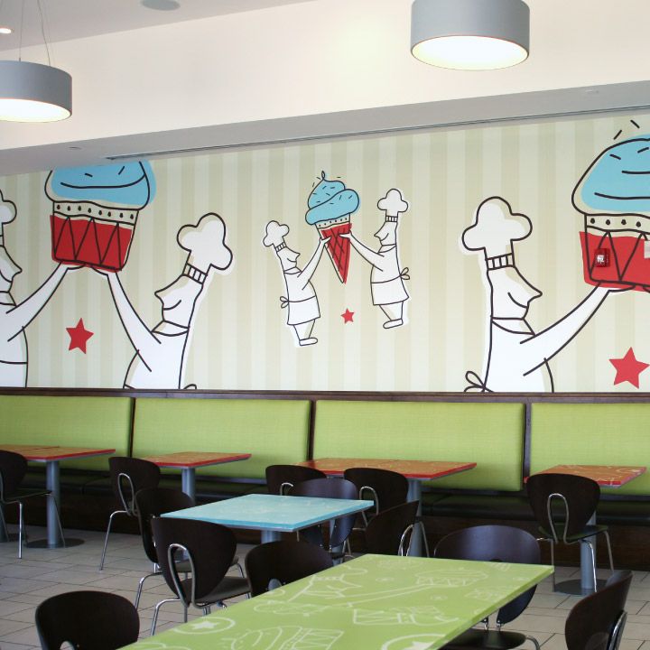 Interior photograph of a Jones Bros. Cupcakes location