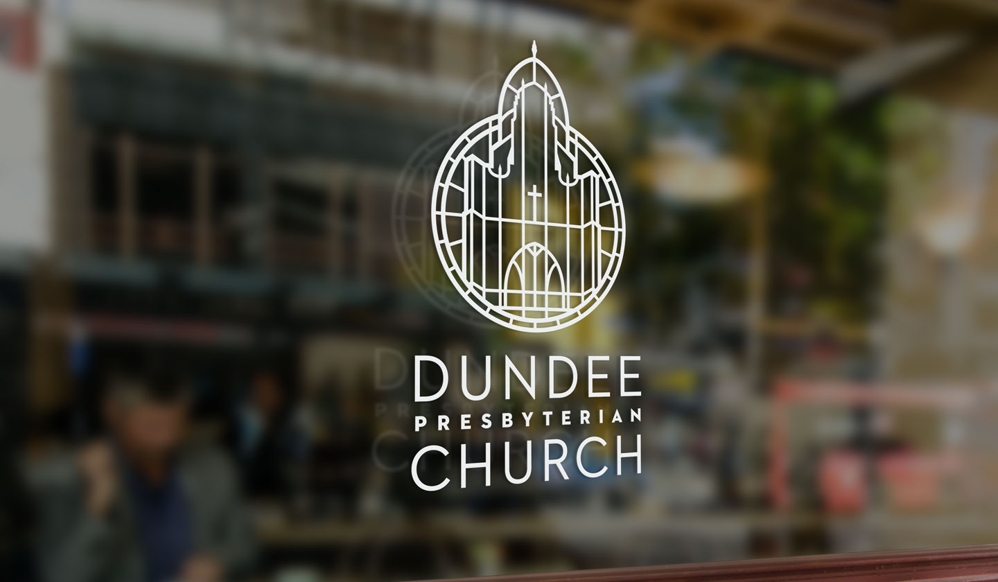 dundee-presbyterian logo etched on glass panel