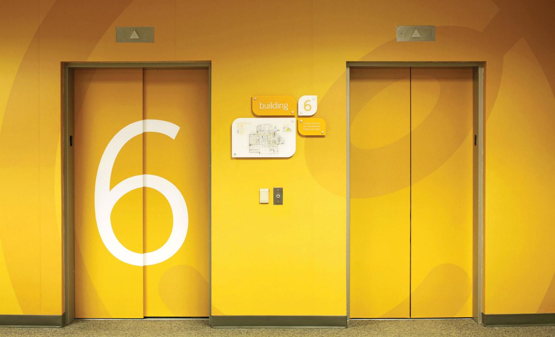 Elevator environmental design for ConAgra headquarters