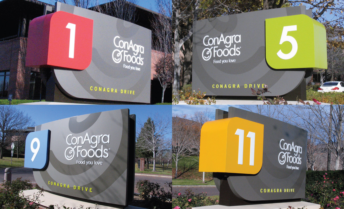 Four ConAgra building signs on their Omaha campus