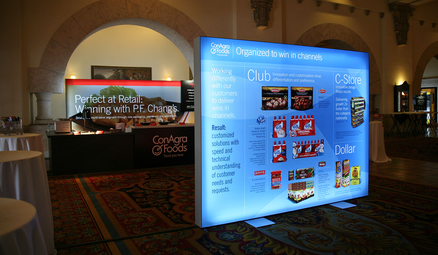 Backlit display board for ConAgra Foods CAGNY 2015