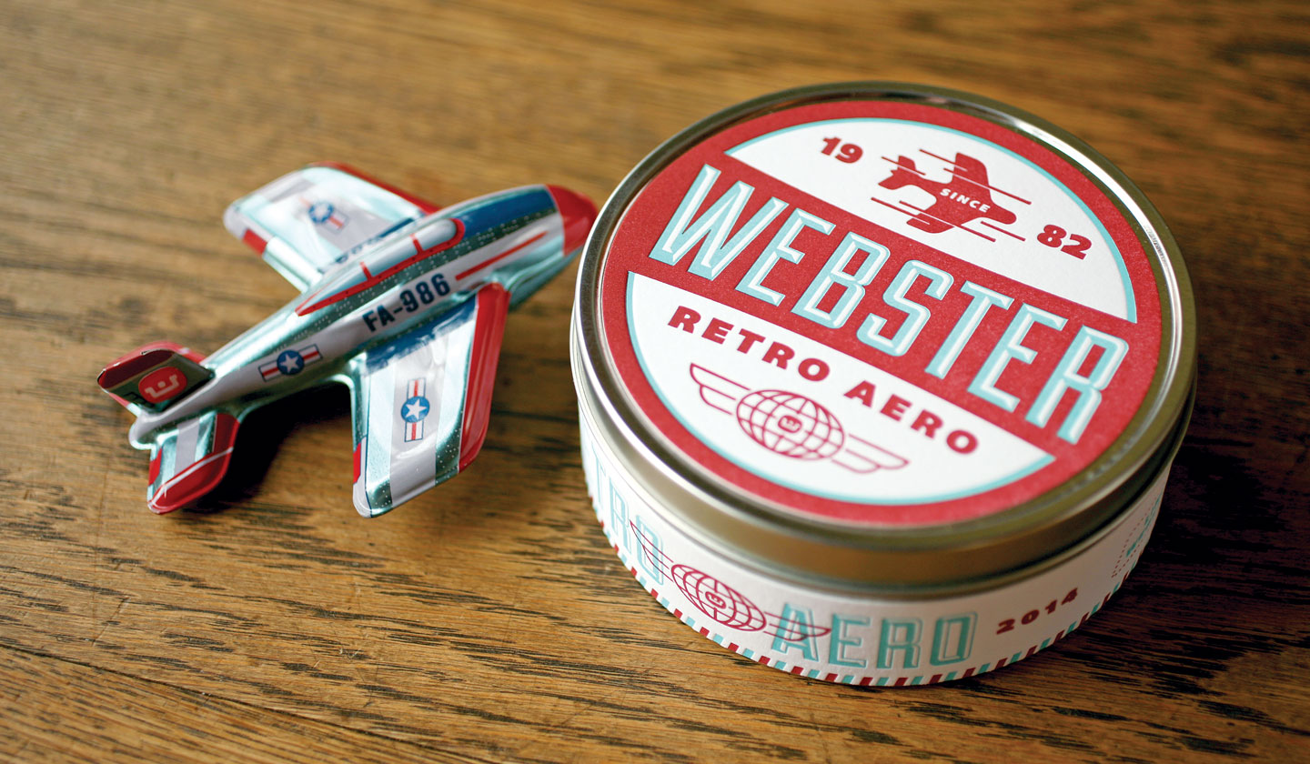 Webster Retro Aero airplane and tin