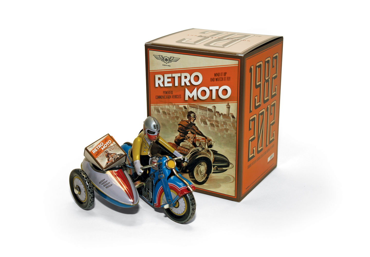 Webster Retro Moto package and tin toy