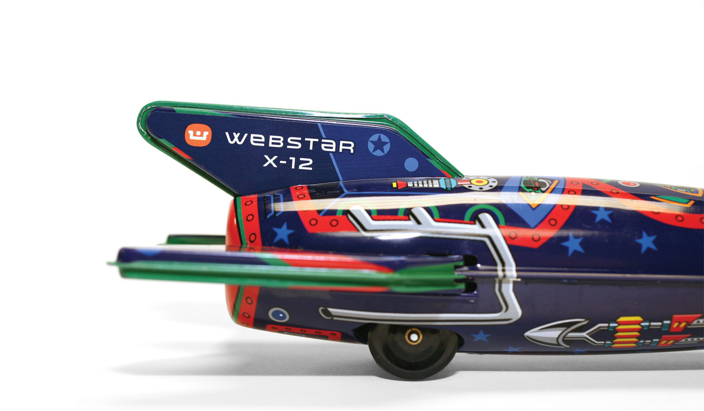 Webster Retro Rocket tin toy tail