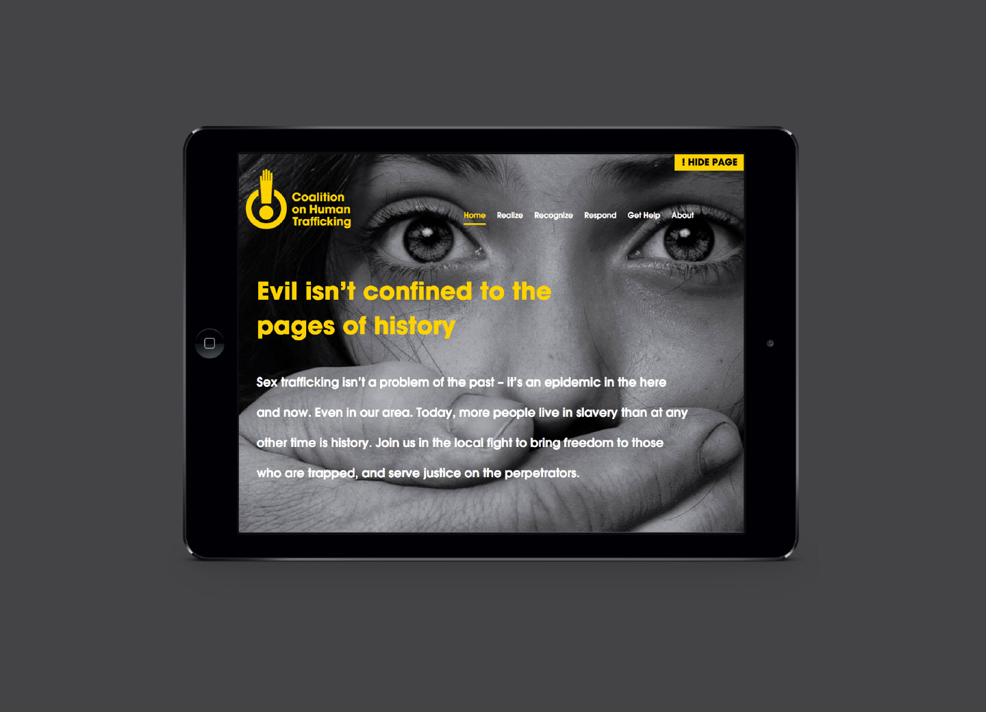 Coalition on Human Trafficking Website on iPad