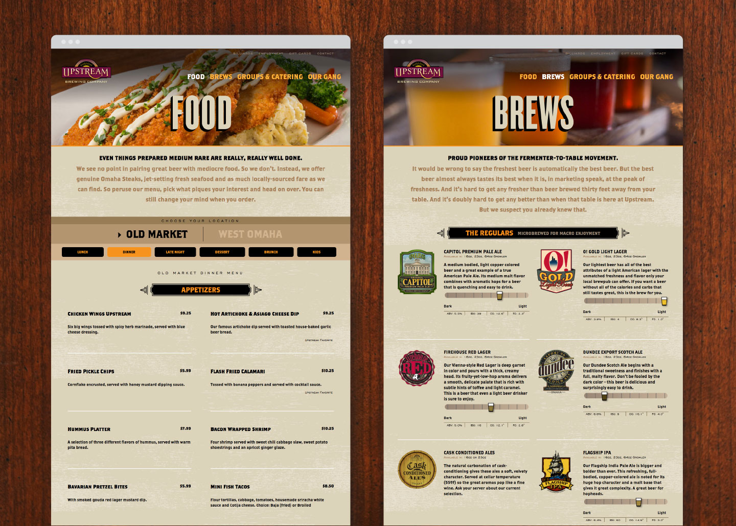 Upstream Brewing Food and Brews Page