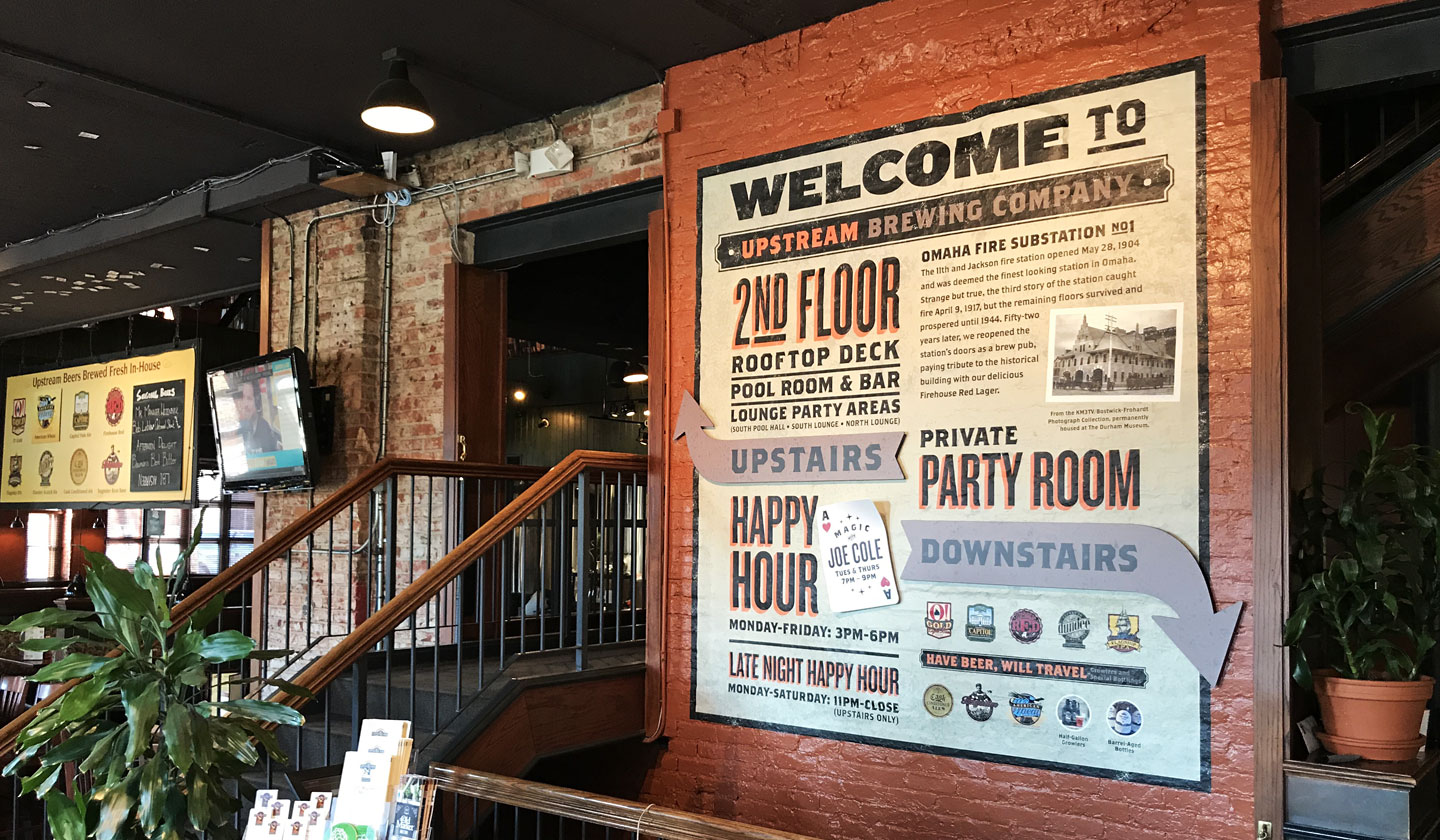 upstream brewing company entrance mural