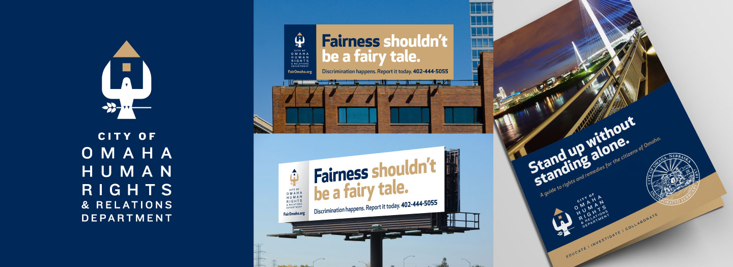 Omaha Human Rights and Relations Department Logo, Billboard and Brochure