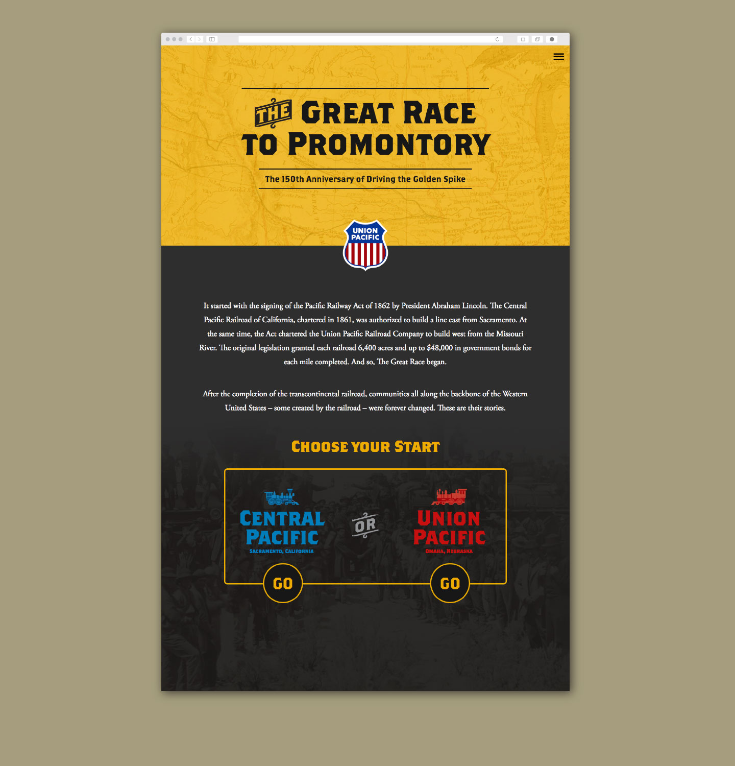 Union Pacific 150th Anniversary Golden Spike Website Homepage