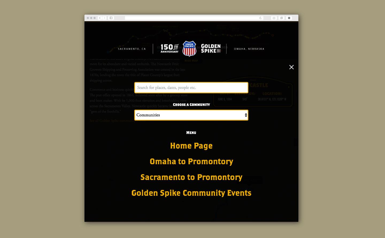 Union Pacific Golden Spike website navigation