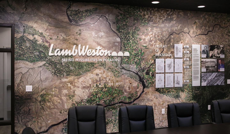 Lamb Weston Conference Room Map Wall